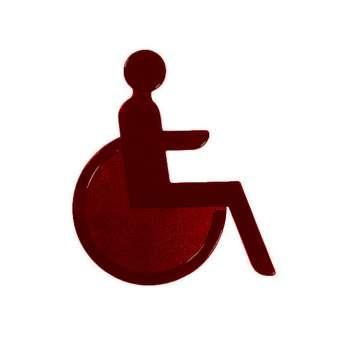 Türsymbol aus Nylon Rollstuhl | dunkelrot