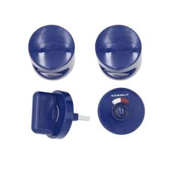 Türknopfgarnitur aus Nylon in bunten Farben dunkelblau | 30mm | mit Schlossplatte