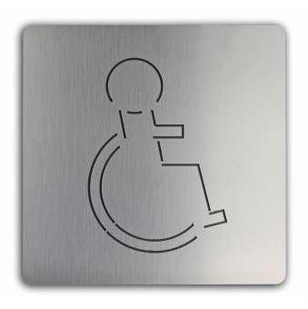 Türschild uno aus Edelstahl Rollstuhl