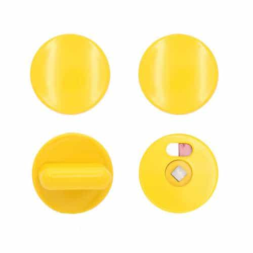 Türknopfgarnitur aus Nylon in bunten Farben gelb | 30mm | ohne Schlossplatte
