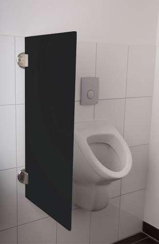 Exklusive Urinaltrennwand Siena aus ES-Glas tiefschwarz