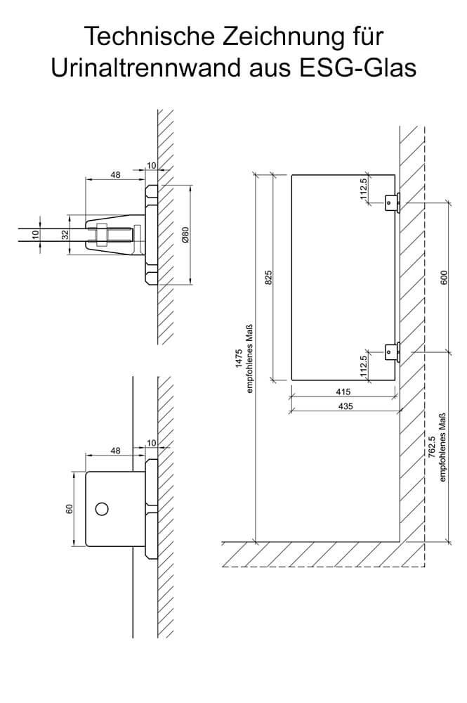 exklusive urinaltrennwand aus esg glas. Black Bedroom Furniture Sets. Home Design Ideas